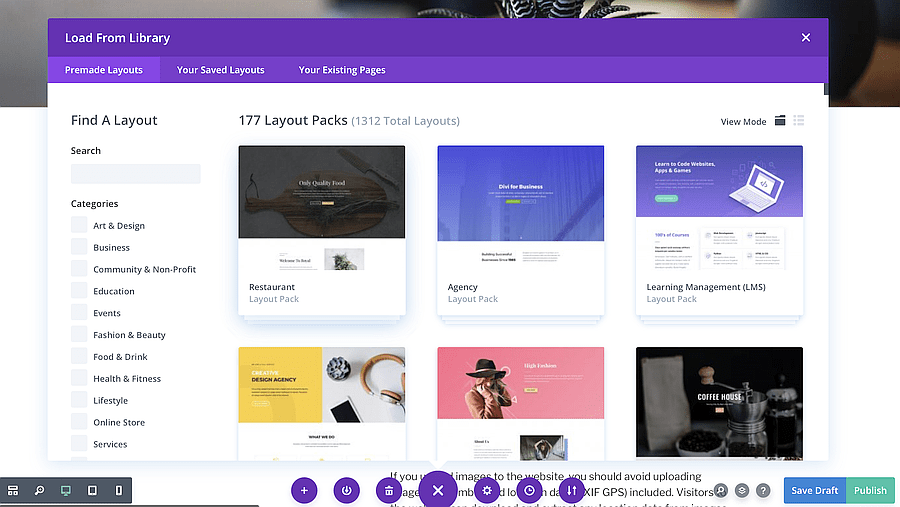 divi has rich library of layouts
