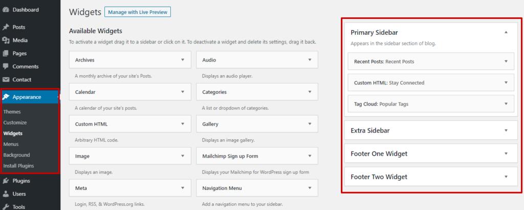 adding WordPress widgets from appearance menu