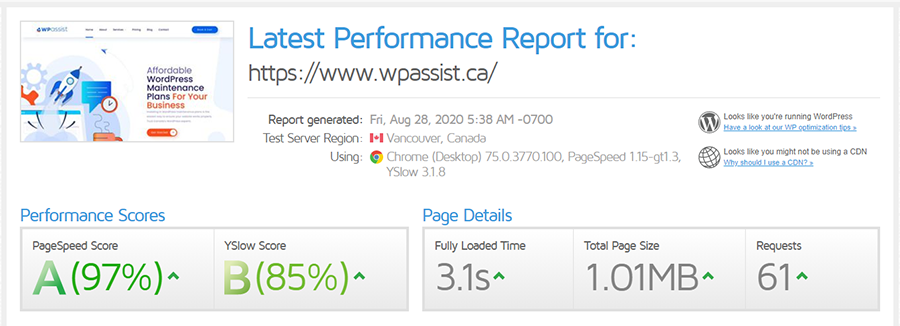loading speed from Vancouver before CDN