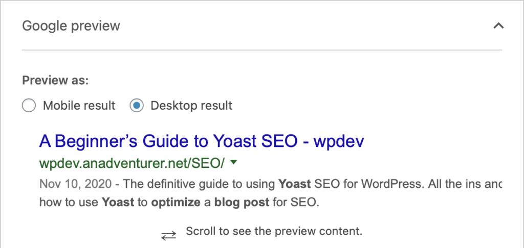 Yoast Google Preview window