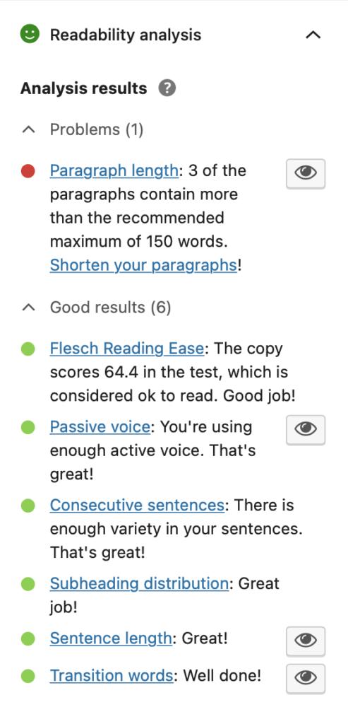 Yoast readability analysis