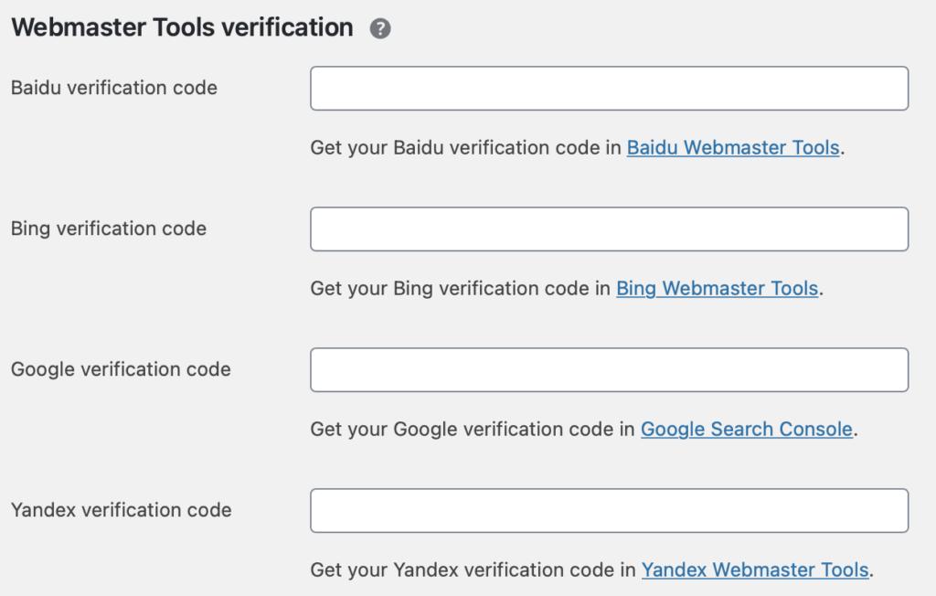 Yoast webmaster tool integration