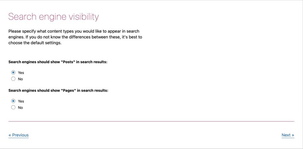 Yoast website visibility setting