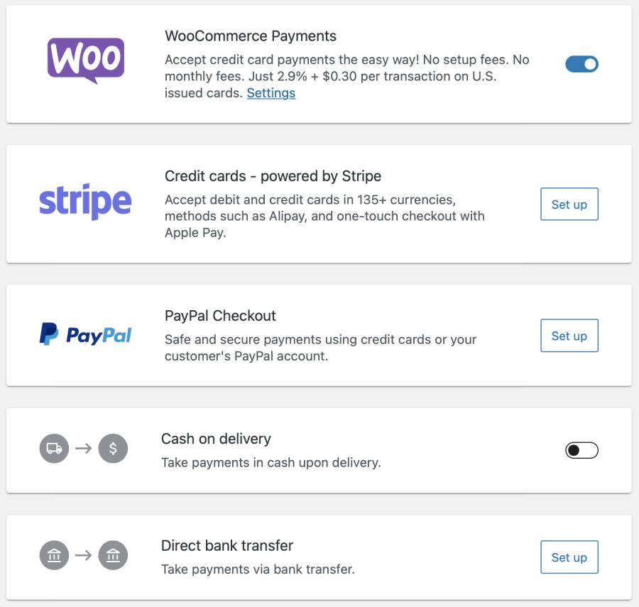 setup payment methods