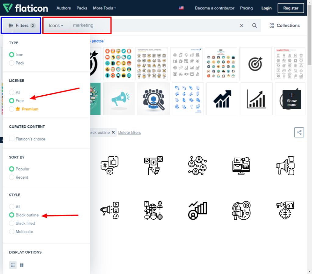 flaticon icon search filter
