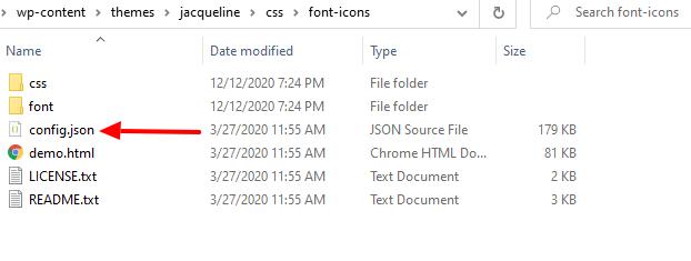 theme's icon font folder